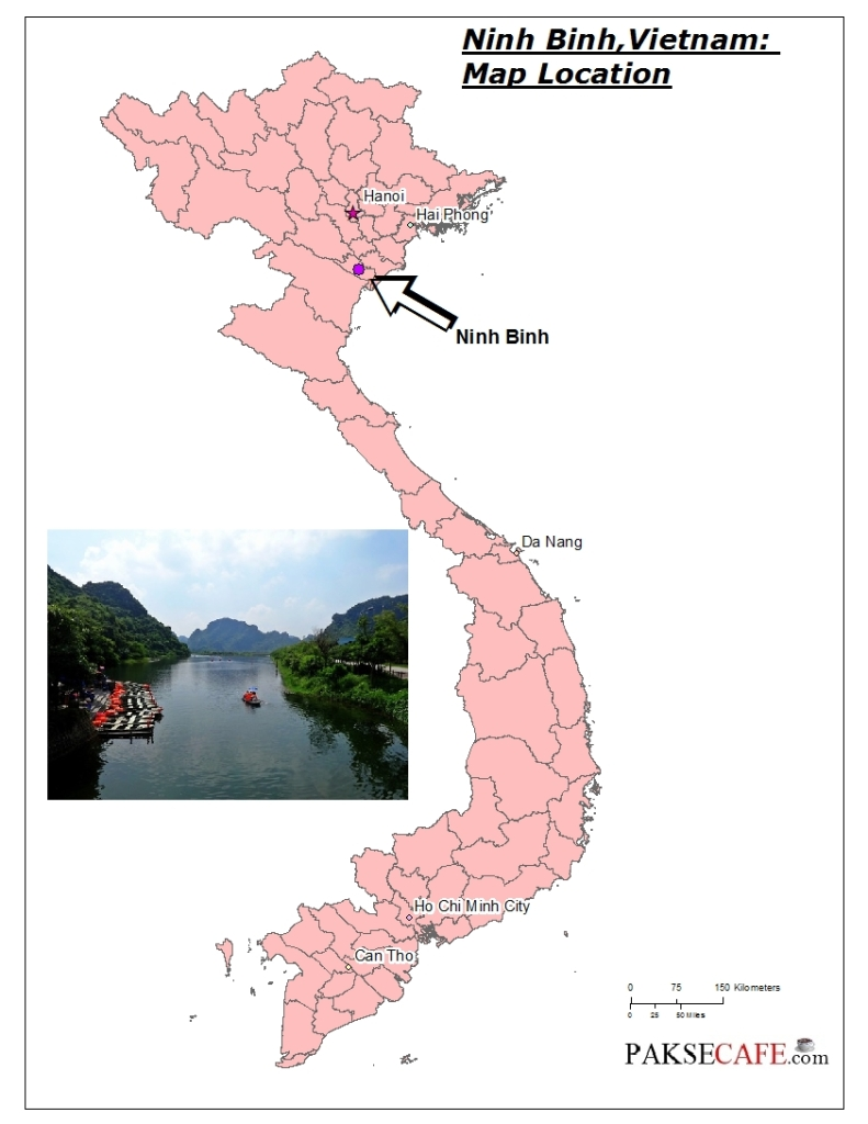 Map of Ninh Binh Vietnam. Things to do
