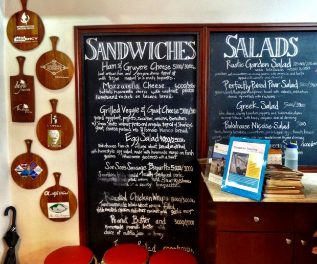 The Chalk board menu at the cafe Yangon Bakehouse