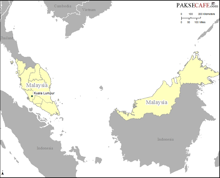 Malaysia location in South East Asia