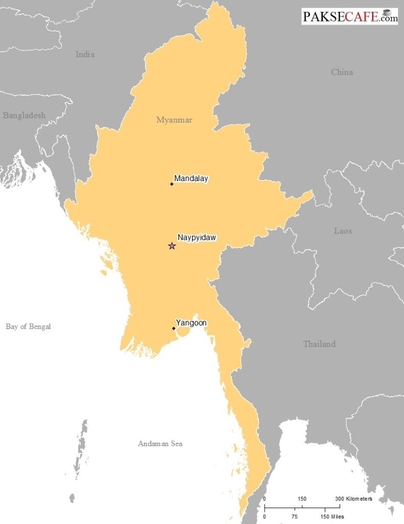 Map of Myanmar in South East Asia