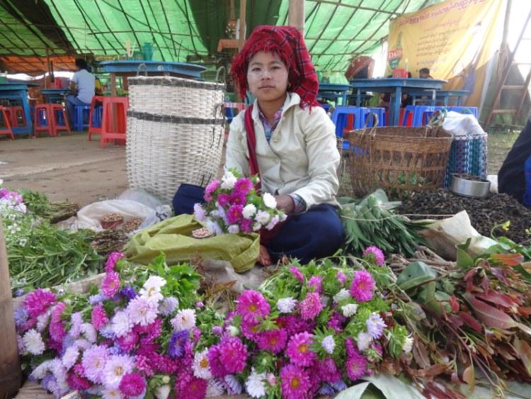 Lady wearing Thanaka in Myanmar AKA Burma