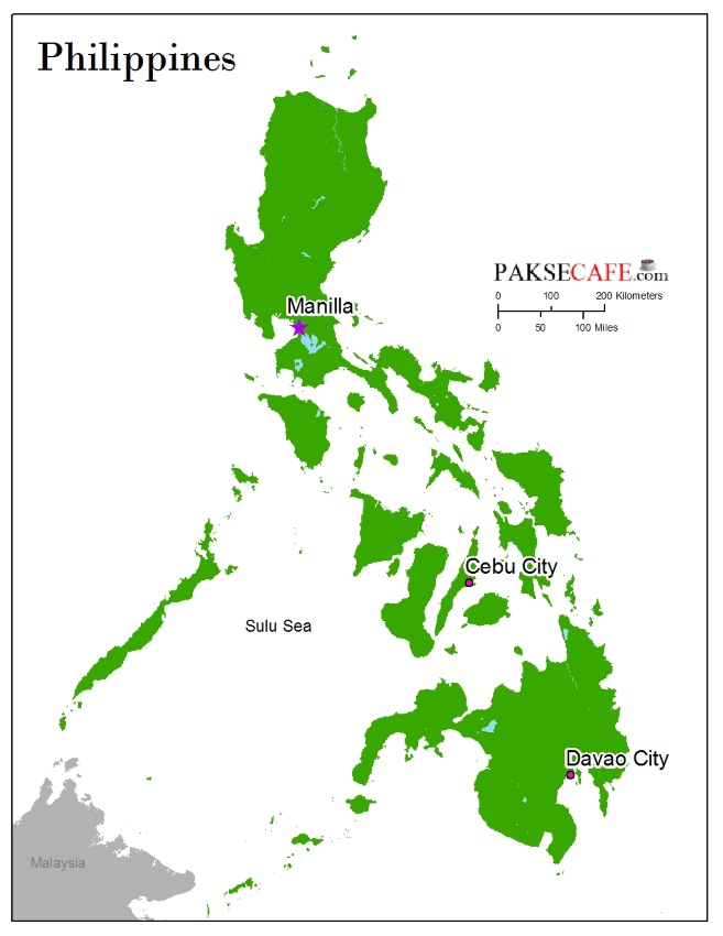 Map of Phillipines in South East Asia