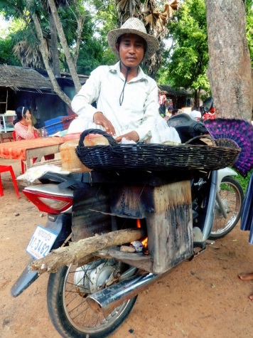 Selling of bread in Laos